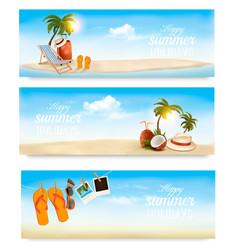 Tropical island with palms a beach chair and a vector