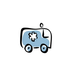 ambulance car medical icon vector image vector image