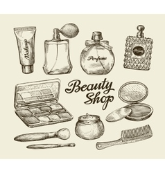 Hand drawn vintage womens cosmetics Sketch vector image vector image
