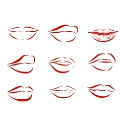 Set of isolated red women lips on light background vector image vector image
