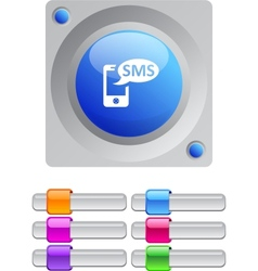 SMS color round button vector image