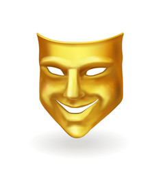 golden theater mask of comedy realistic icon vector image vector image