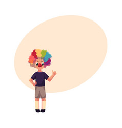 little boy wearing clown nose and wig showing vector image vector image