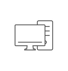 monitor screen with pc line icon vector image vector image