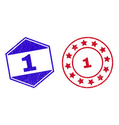1 unclean stamps in round and hexagon shapes vector