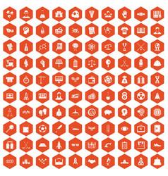 100 success icons hexagon orange vector image