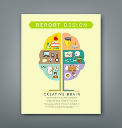Annual report brain concepts colorful tree shape vector image