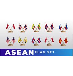 Asean flag design template set vector