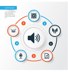 Audio icons set collection sound mike file vector