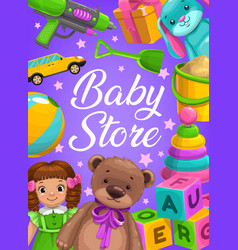 Baby store kids toys shop cartoon poster vector