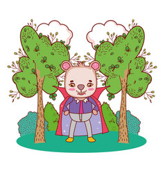Bear wearing dracula costume with teeth and cape vector