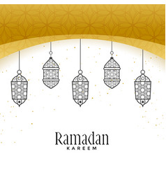 Beautiful hanging lamps for ramadan kareem vector