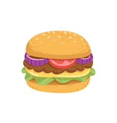 Big juicy burger vector image vector image