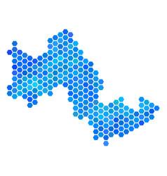 Blue hexagon tilos greek island map vector