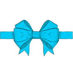 Blue ribbon bow hand drawn colored sketch vector