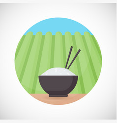 Bowl of rice with chopsticks flat icon vector