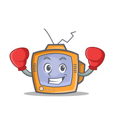boxing tv character cartoon object vector image