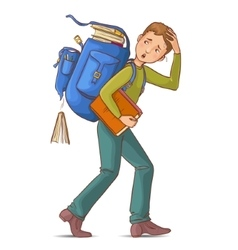 Boy carries heavy school rucksack full of books vector