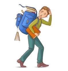 Boy carries heavy school rucksack full of books vector image