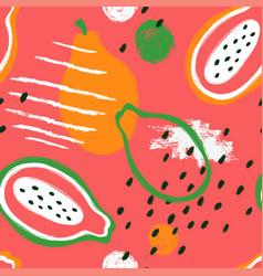 brush grunge papaya seamless pattern vector image