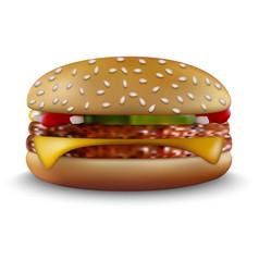 Burger on white background vector