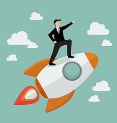 Businessman standing on a rocket vector image