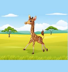 cartoon happy giraffe in the jungle vector image
