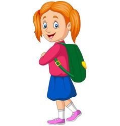 cartoon happy school girl carrying backpack vector image
