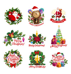 christams icons with santa gifts new year wreath vector image