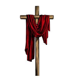 Christian wooden cross easter symbol vector