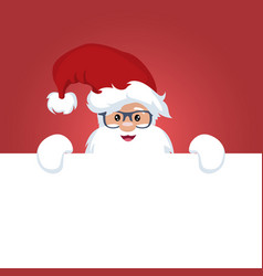 christmas card of santa claus with a sign vector image