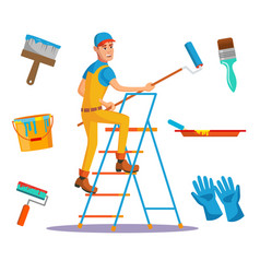 Classic painter painting wall with brush vector