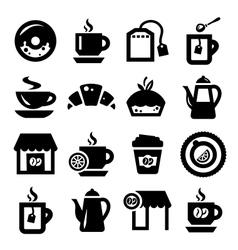 coffee and tea icons set vector image