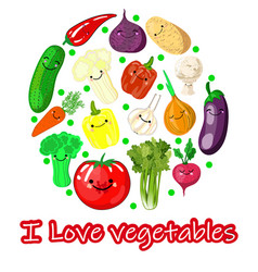 colorful cartoon vegetables icons in round vector image