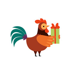 Colorful rooster with gift box farm cock cartoon vector