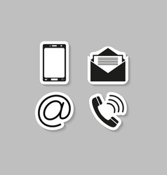 Contacts telephone sticker icons vector