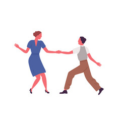 Couple performing lindy hop or swing dance vector
