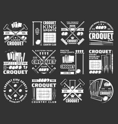 croquet items and equipment icons sport club sign vector image