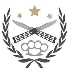 Crossed knifes and brass knuckle emblem vector image