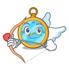 Cupid pocket vintage watch on a cartoon vector