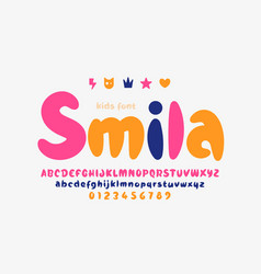 Cute and playful kids font uppercase lowercase vector