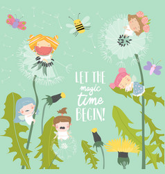 cute little cartoon fairies flying above vector image