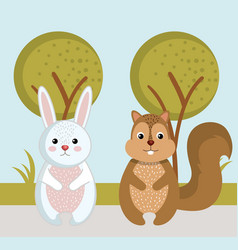 Cute rabbit and squirrel wild animals forest vector