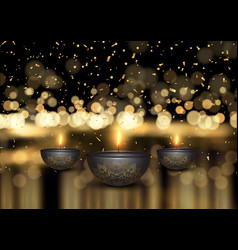 diwali background with oil lamps and confetti vector image