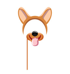 Dog mask with ear and cute snout isolated on white vector
