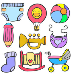 Doodle of toy set baby collection vector