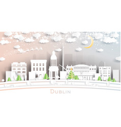 dublin ireland city skyline in paper cut style vector image
