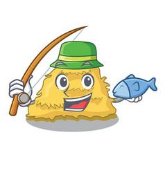 Fishing hay bale mascot cartoon vector