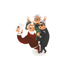 flat elderly people making selfie phone vector image