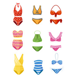 Flat set of women swimsuits female garment vector